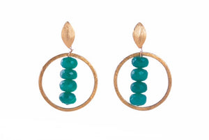 Circle Green Onyx Earrings