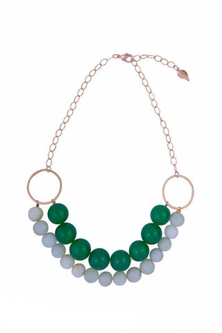 Double Wrap Green Onyx and Jade Necklace