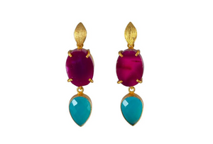 Purple Agate and Turquoise Onyx Cocktail Earrings