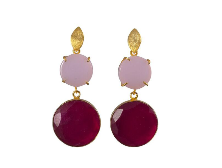 Double Pink Onyx Cocktail Earrings