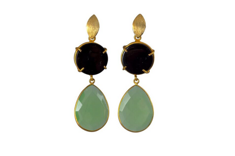 Green Chrysoprase and Black Onyx Cocktail Earrings