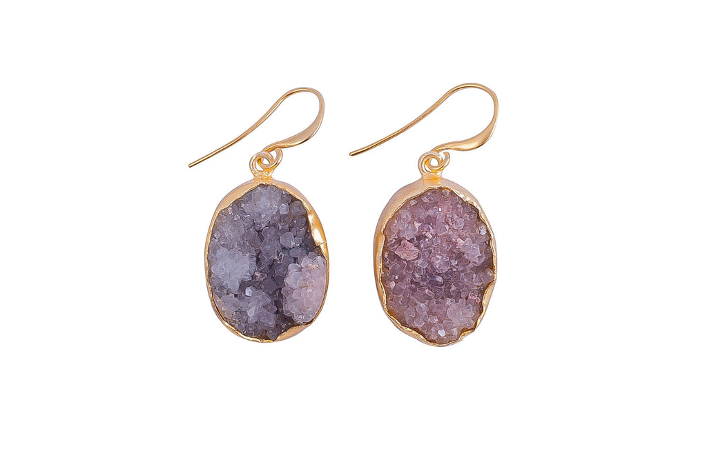 Grey Raw Druzy Earrings