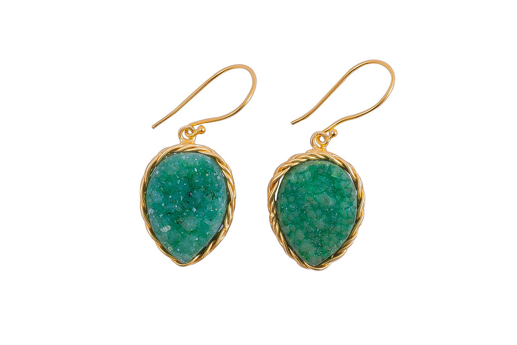 Emerald Druzy Earrings