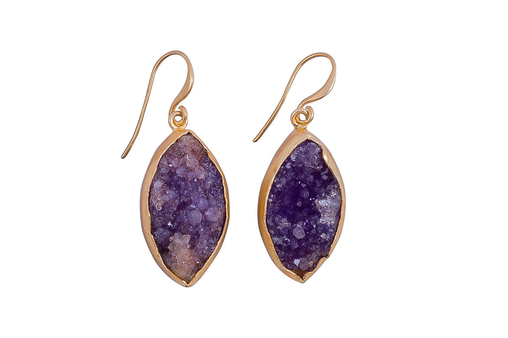 Purple Raw Druzy Earrings