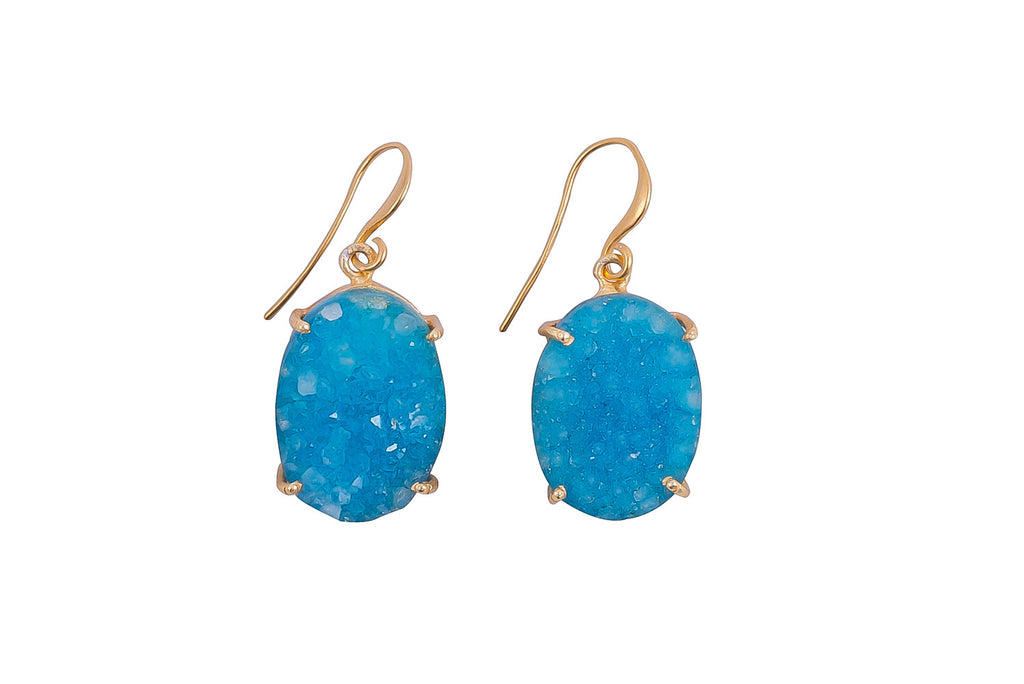 Blue Raw Druzy Earrings