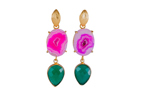 Pink Agate and Green Onyx Cocktail Earrings