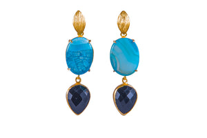 Blue Agate and Black Onyx Cocktail Earrings