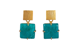 Green Square Solar Quartz Earrings