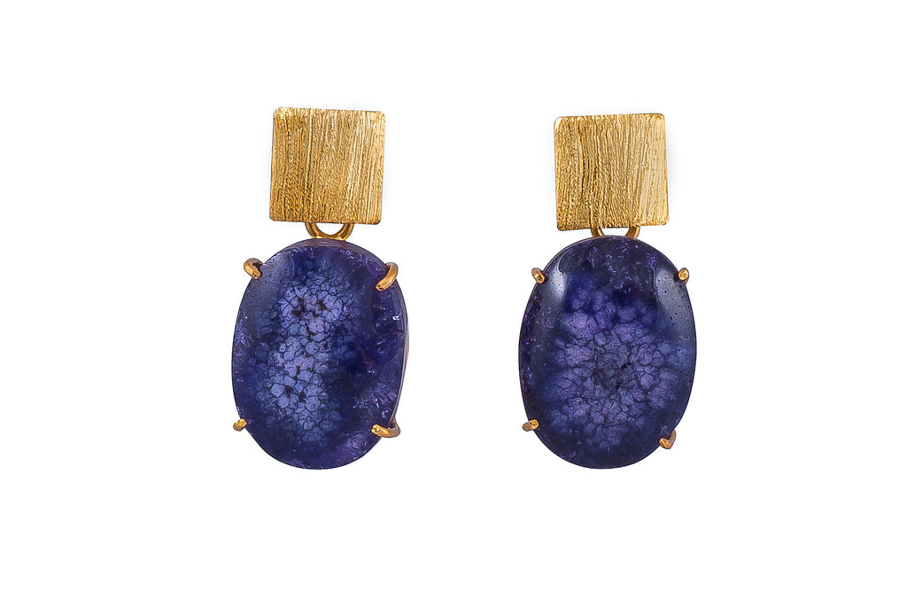 Purple Solar Quartz Earrings