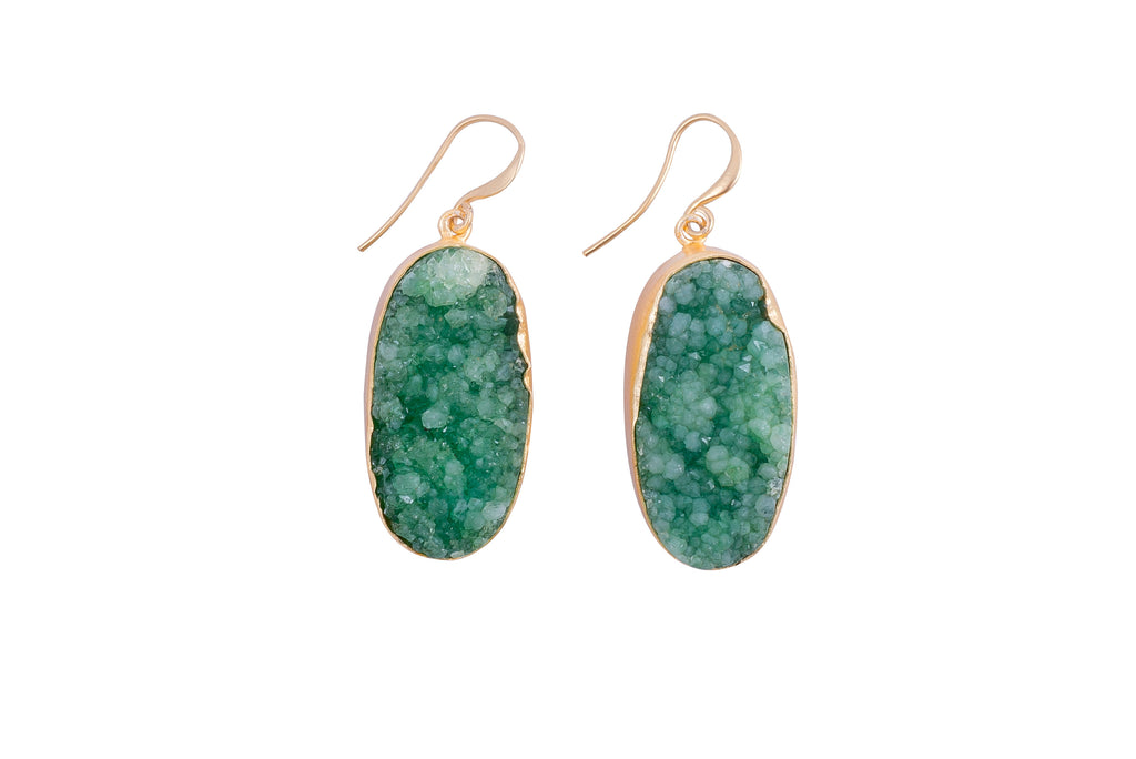 Green Raw Druzy Earrings