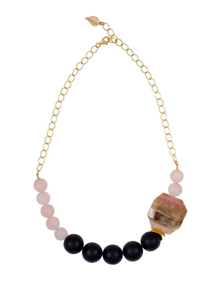 Peruvian Pink Opal and Black Onyx Statement Necklace