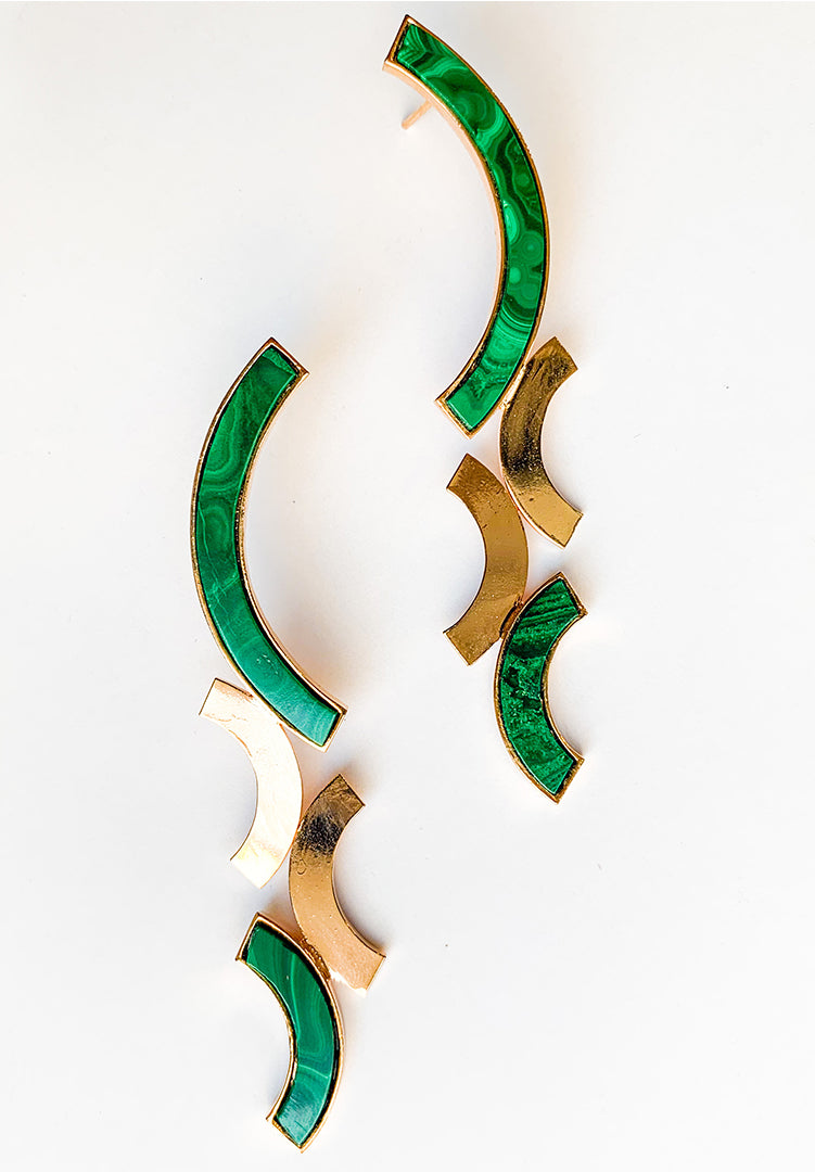Malachite Back to Back Long Semi Circle Earring
