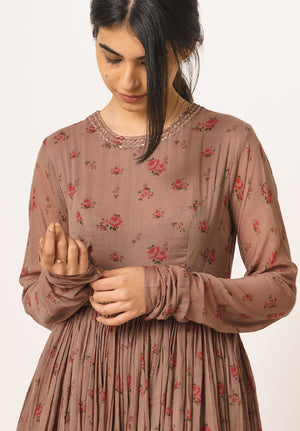 Brown Floral Kurta
