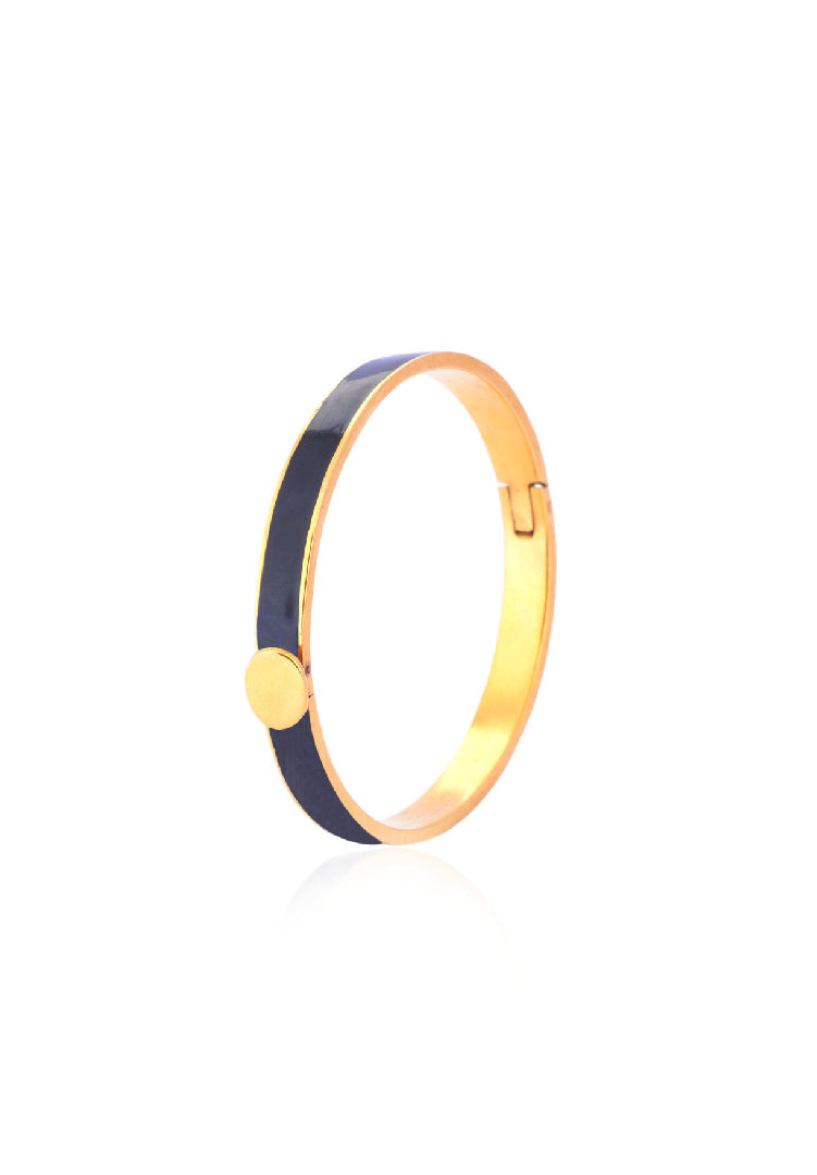 Black and Gold Enamel Bangle