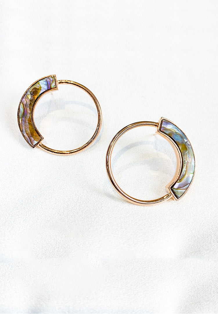 Grey Mother of Pearl Petite Hoops