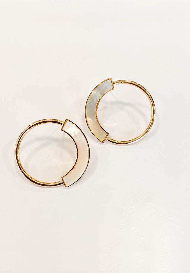 Mother of Pearl Petite Hoops