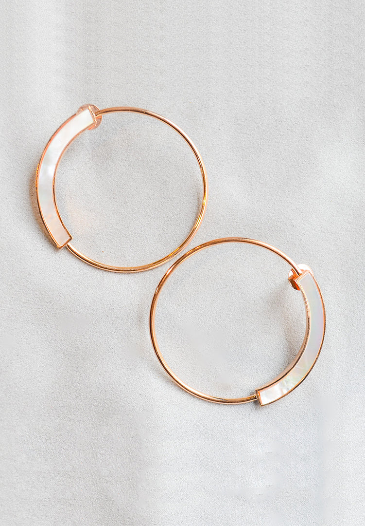 Mother of Pearl Grande Hoops