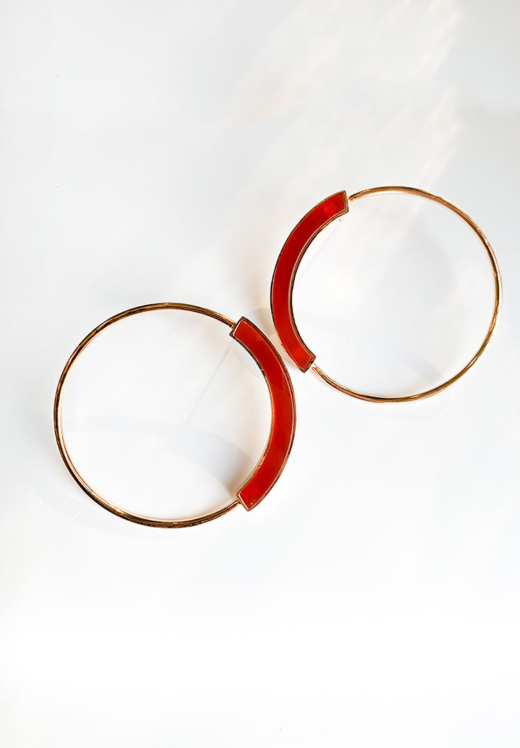 Grande Red Agate Hoops