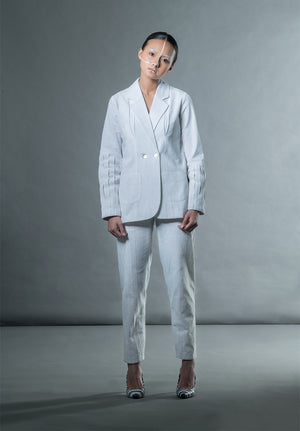 Jacket With Box Pleat Cuffs - White