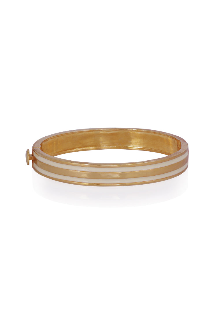 Ivory Enamel Stripe Bangle