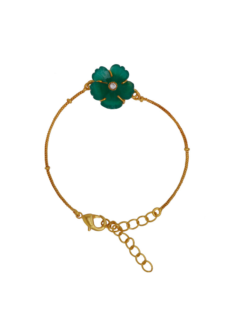Green Carved Flower Bracelet