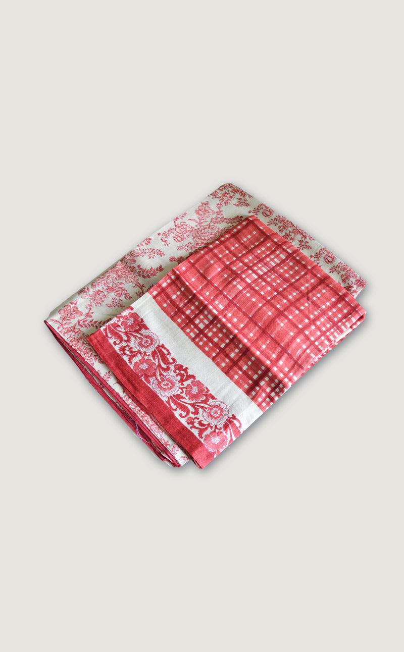 Pink Floral & Checks Suit Material