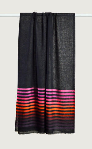 Merino Stripes Black Pink