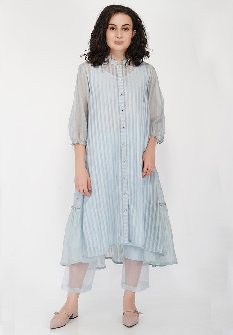 Stripe High Low Side Gather Dress - Light Blue