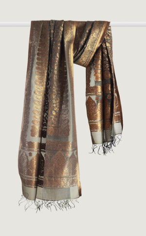 Grey Gold Dupatta