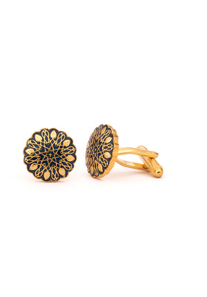 New Mughal Brass Cufflinks - Gold