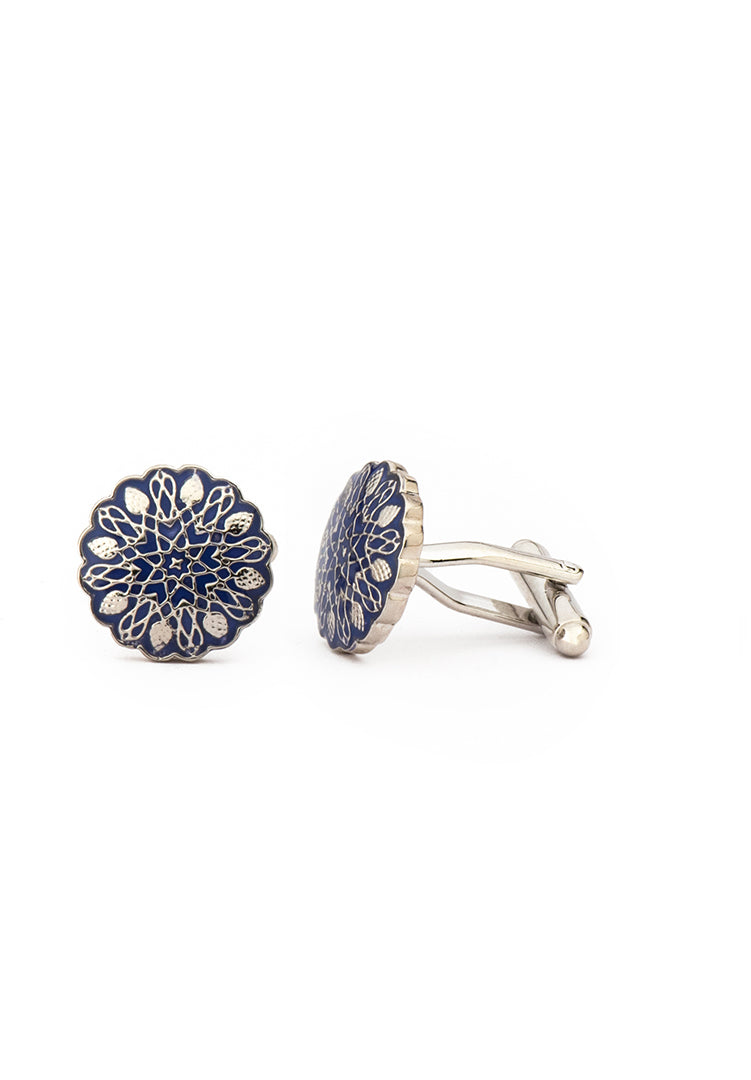 New Mughal Brass Cufflinks - White Gold
