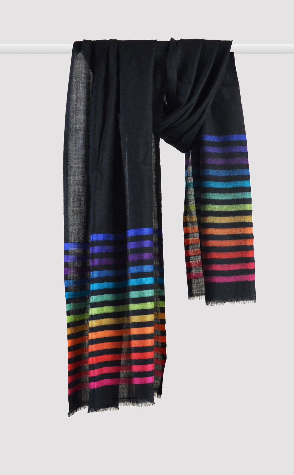 Merino Stripes Black Rainbow