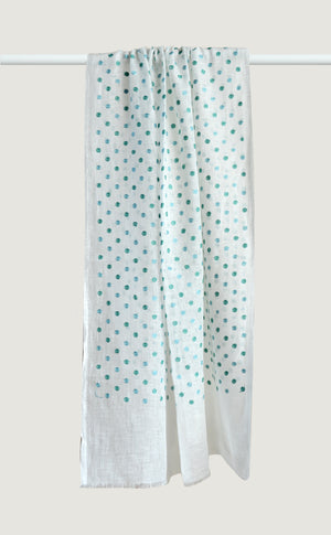 Sea Green Linen Polka