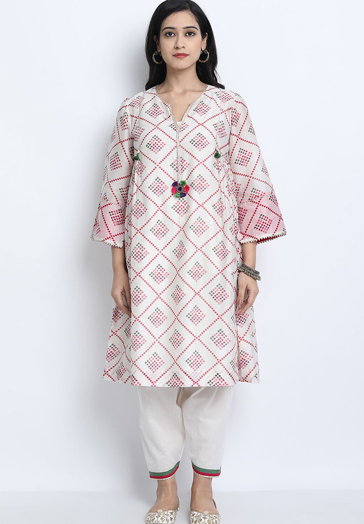 Pushp Kurta Set - White