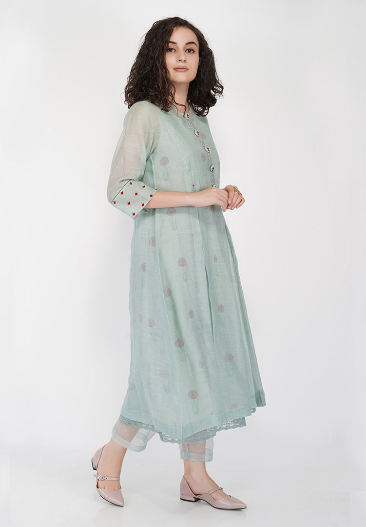 Box Pleat with Button Embroidery - Sage Green