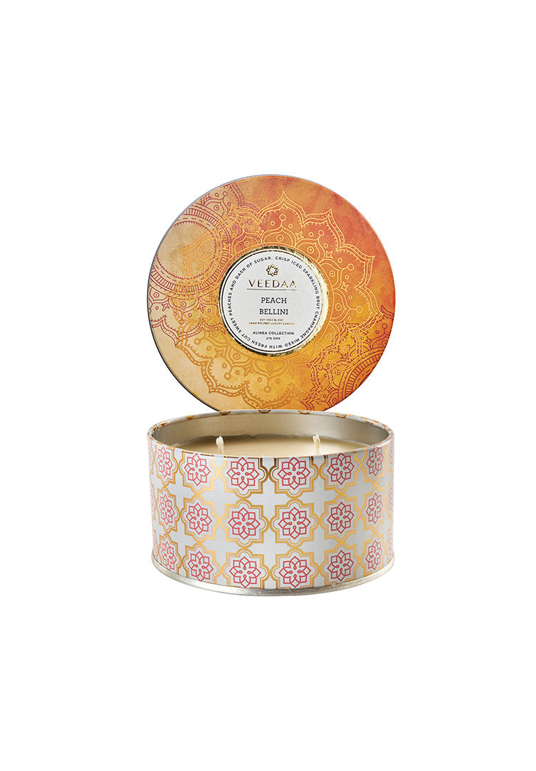 Peach Bellini 3 Wick Tin - Soy Scented Candle