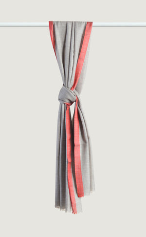 Grey Red Wool Silk Stole