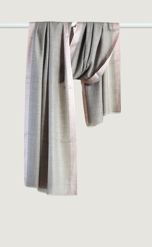 Grey Pink Wool Silk Stole