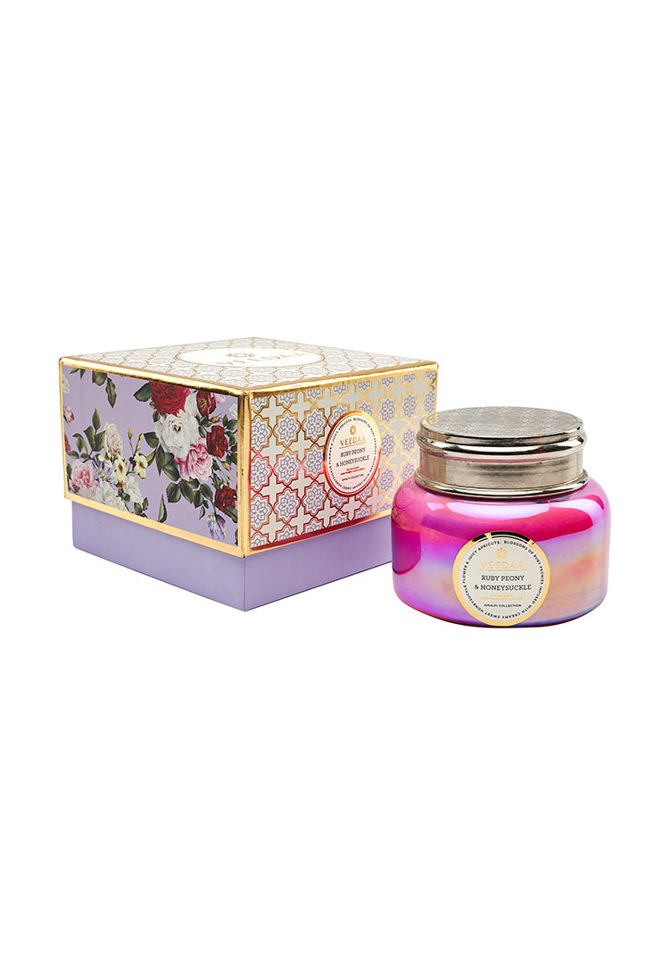 Ruby Peony & Honeysuckle Macaron Glass - Soy Scented Candle
