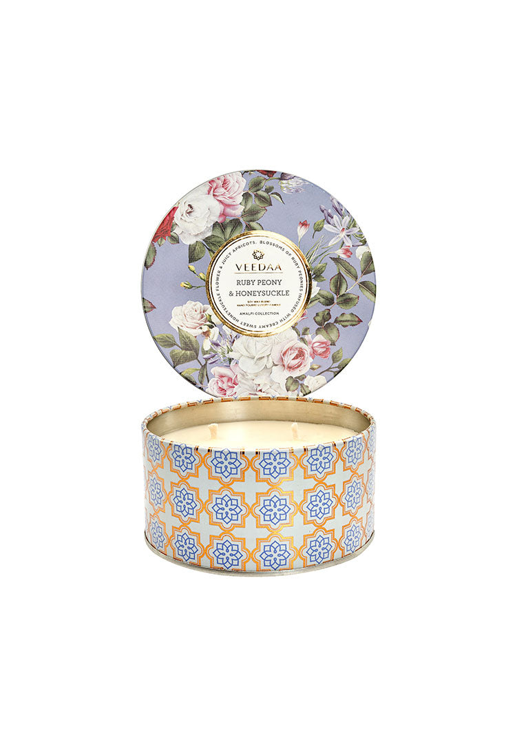 Ruby Peony & HoneySuckle 3 Wick Tin - Soy Scented Candle