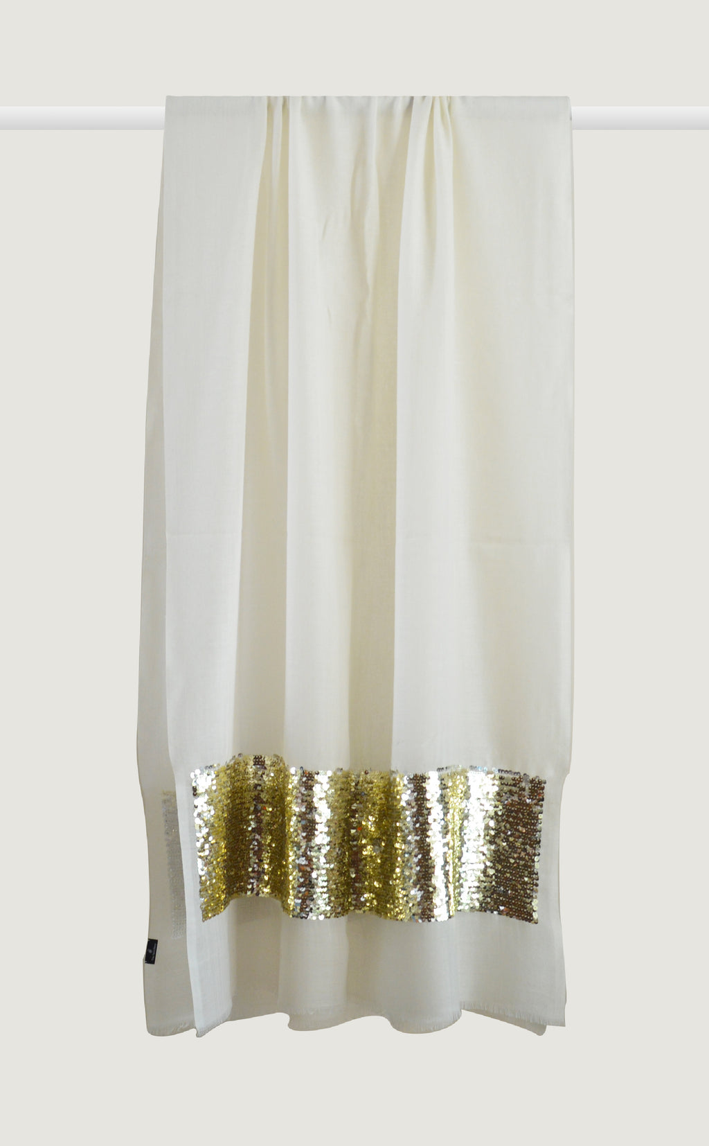 White Gold Embroidered Stole