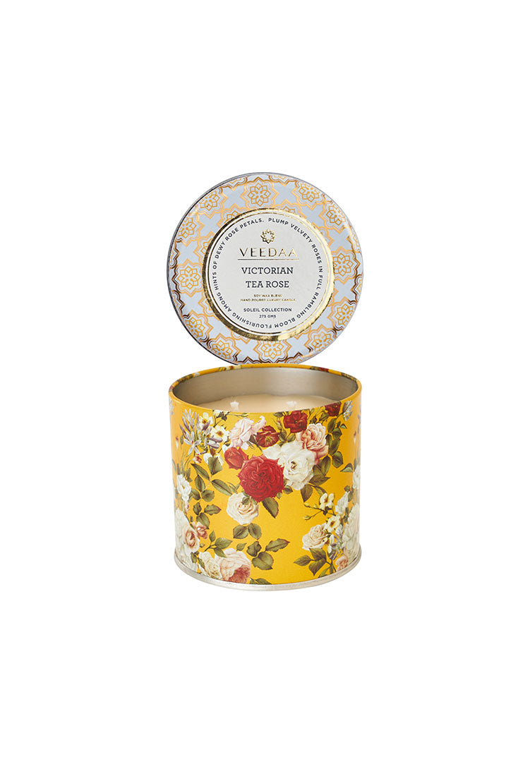 Victorian Tea Rose Mason Tin - Soy Scented Candle