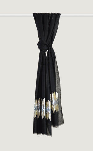 Black Embroidered Stole