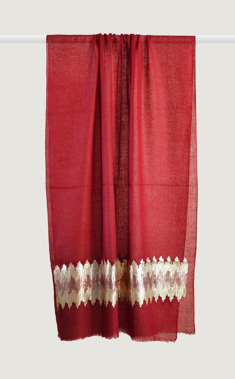 Red Embroidered Stole