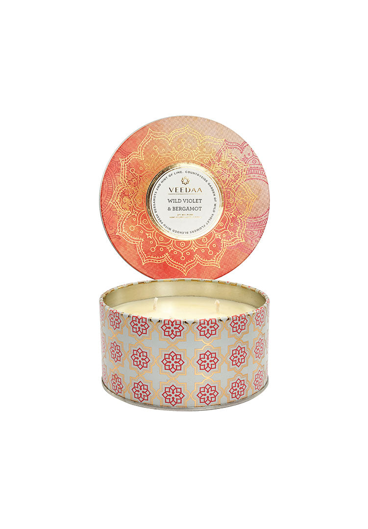 Wild Violet & Bergamont 3 Wick Tin - Soy Scented Candle