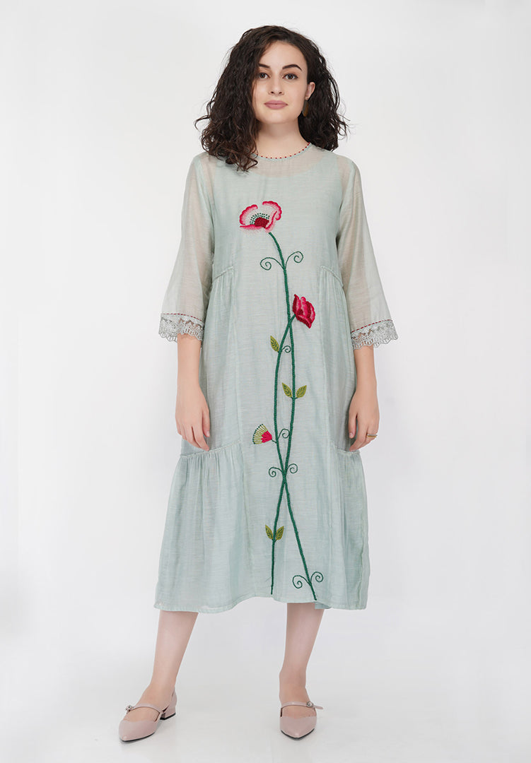 Flower Tier Dress - Sage Cream