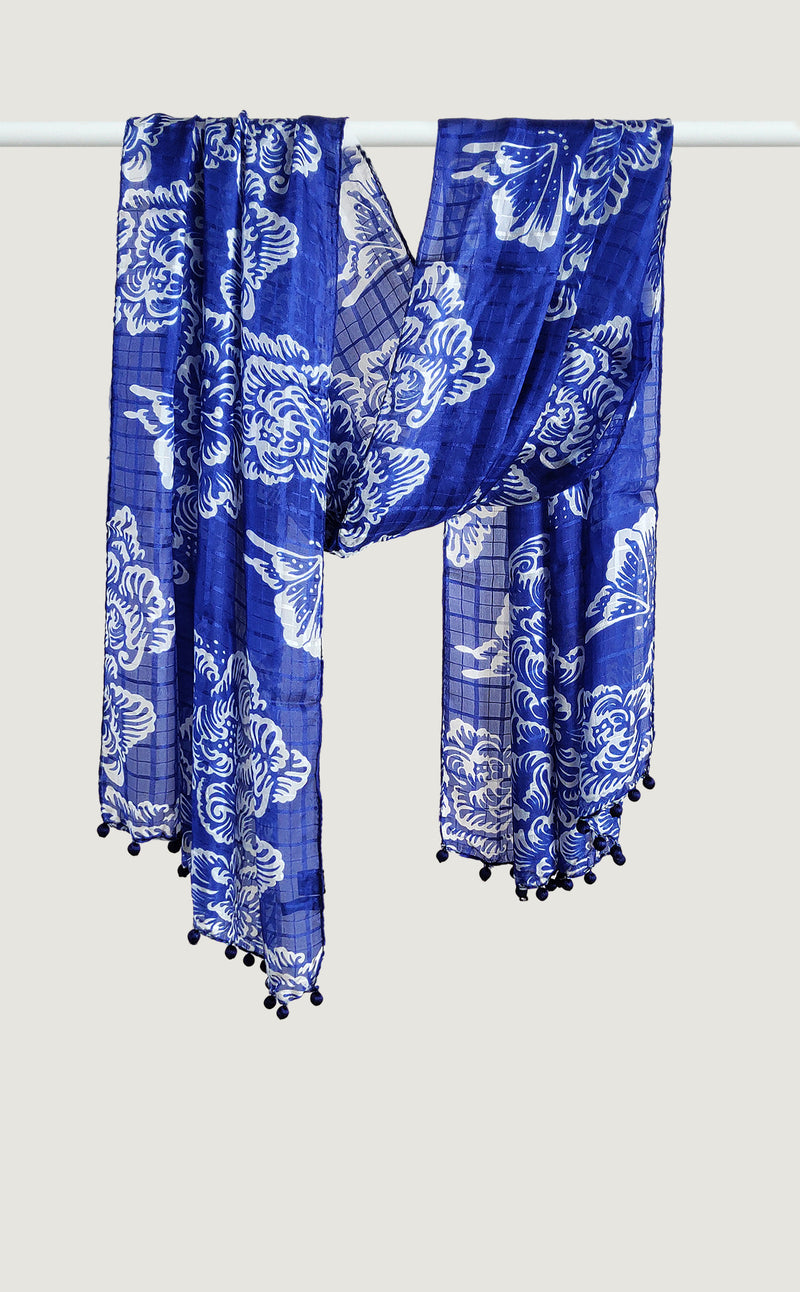 Electric Blue Tabby Silk Stole
