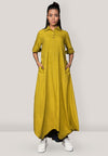 Collar Side Cowl Dress Mustard