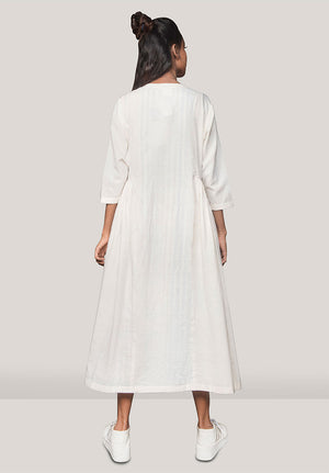 Pleated Jacket Dress White