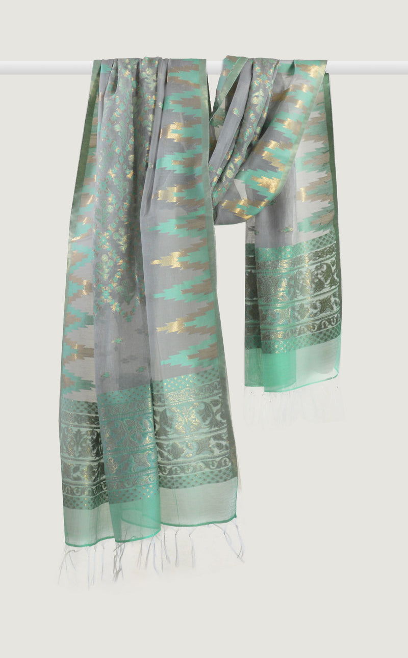 Grey Mint Ikat Dupatta